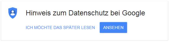 Datenschutzhinweis bei Google
